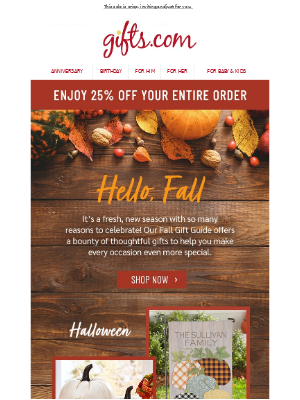 gifts.com - Falling for Everything Fall? Save 25% Today!