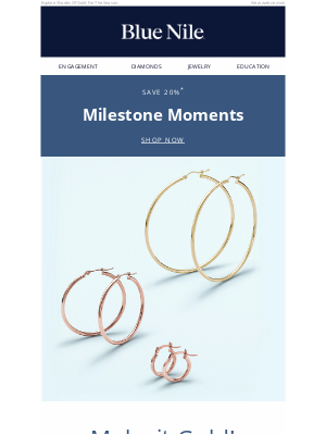 Blue Nile - 20% Off Gold Jewelry & More For Spring