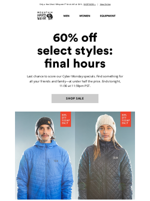 Mountain Hardwear - FINAL HOURS for 60% off select styles.