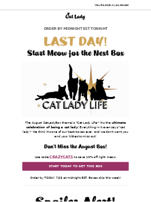 🙀LAST DAY🙀 for the August Box!