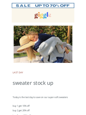 LAST DAY to save up to 30% off on sweaters
