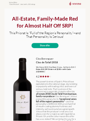 Vivino - Boutique Priorat Red Up for Grabs | Just $18.99 🤯