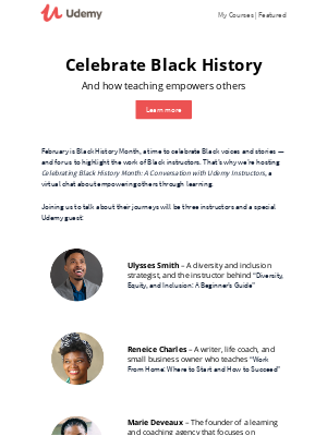 Udemy - Come celebrate Black History Month with us