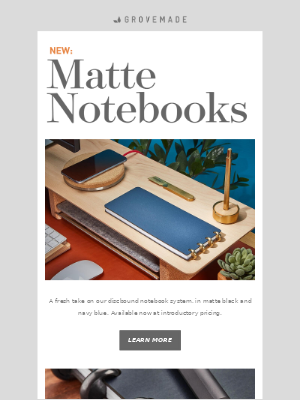 Grovemade - New Product: Matte Notebooks