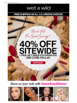 wet n wild - Fall into Savings with 40% Off