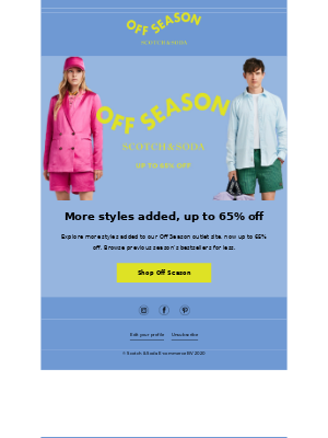 Off Season outlet: Now up to 65% off