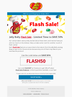 Jelly Belly Candy Company - ⚡ Jelly Belly 50% OFF Flash Sale!