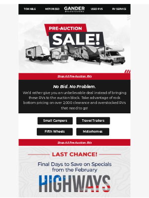Gander Mountain - 🚨PRE-AUCTION ALERT: Pay What Dealers Pay🚨