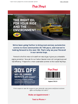 Pep Boys - Your oil change coupon is inside