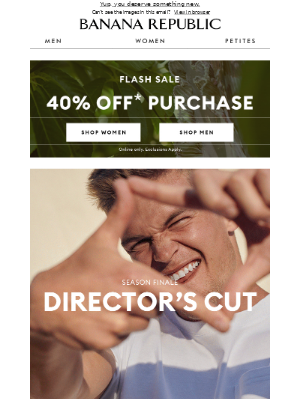 Banana Republic USA - Flash Sale ⚡... how does 40% off your purchase sound?