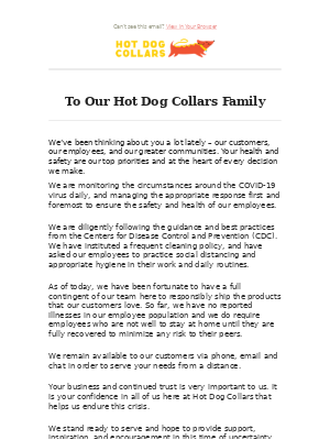 A note from Hot Dog Collars on COVID-19