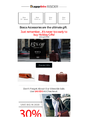 LuggageOnline - Save 15% Off All BOSCA