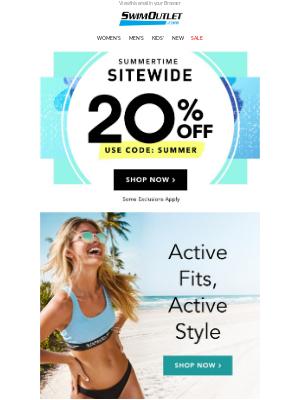 20% OFF Active Swimwear & Apparel 🌊 💪