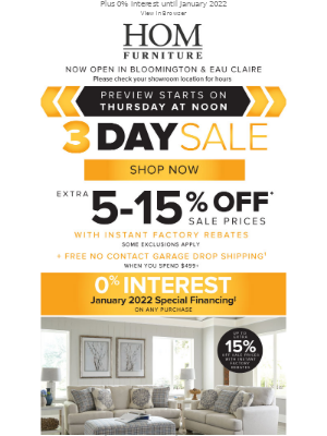 HOM Furniture - For your eyes ONLY! PREVIEW our 3 Day Sale!