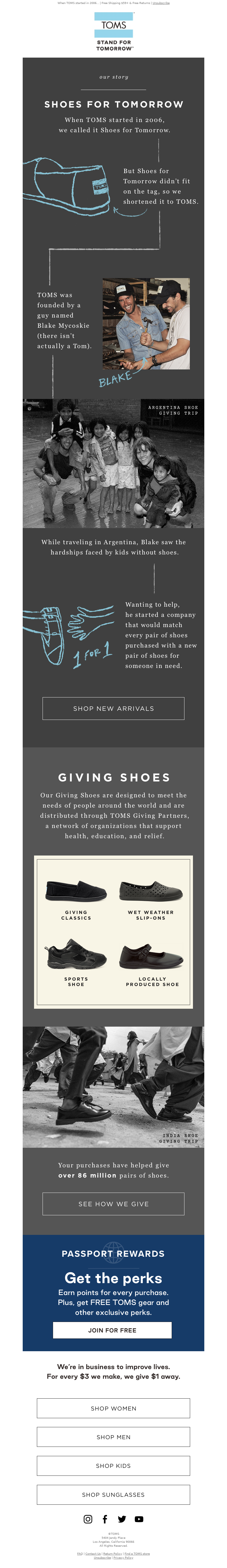 When TOMS started in 2006... | Free Shipping $59+ & Free Returns | Unsubscr