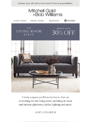 Mitchell Gold + Bob Williams - The Living Room Event Starts Now