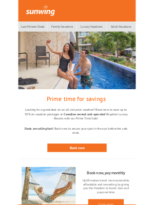 Sunwing Vacations Inc. (CA) - Prime Time Savings Sale Extended!