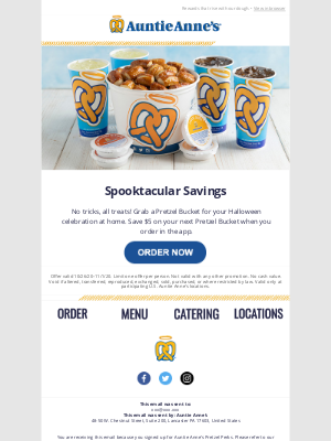 Auntie Anne's - Save $5 on a 🥨 Bucket