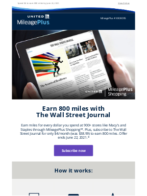 United Airlines - Earn 800 miles when you subscribe to WSJ