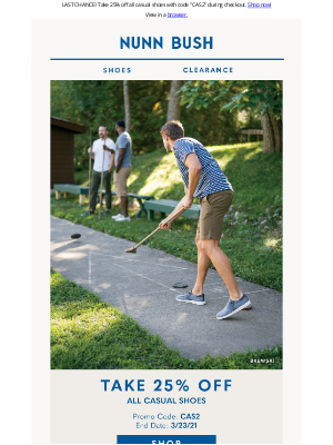 Nunn Bush - Summer casual sale ends tonight! Don't miss out