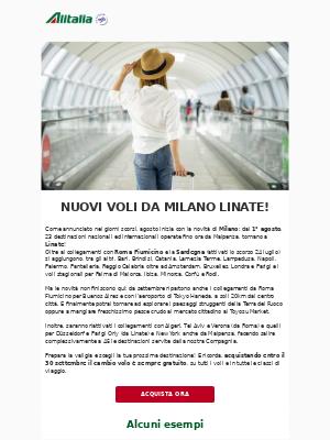 Alitalia (Italy) - Riparte Linate. E tante altre novità in arrivo!