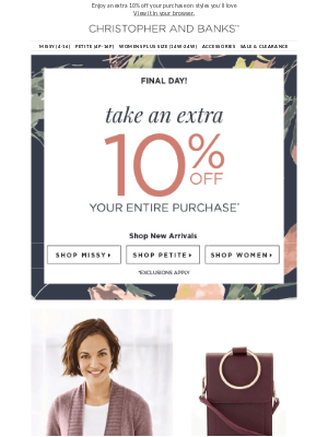 Christopher & Banks - You don't want to miss this SALE…