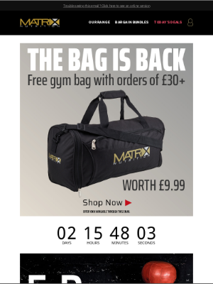 Matrix Nutrition (UK) - Free Holdall Over £30! Ends Soon!