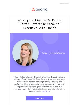 Why I joined Asana: McKenna Farrar, Enterprise Account Executive, Asia-Pacific