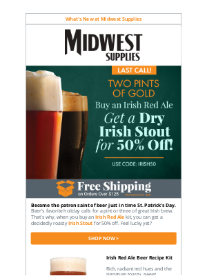 Midwest Supplies - ☘️ Last Call for 50% off Irish Beer Kits