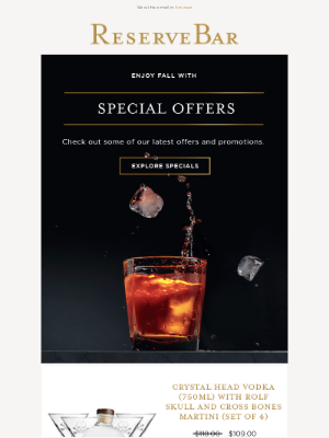 Reserve Bar - A Great Cocktail Always Uses a Premium Spirit | Explore Our Special Offers