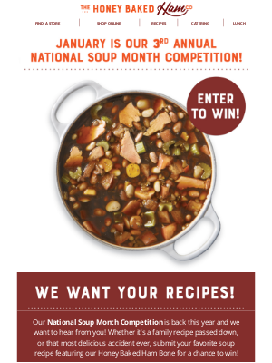 HoneyBaked Ham Online - 🍲Anthony, our National Soup Month Competition is here!