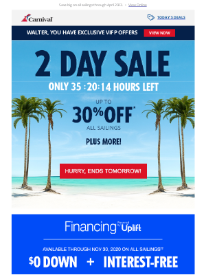 Carnival Cruise Line - 🚨 Stop the presses! Your 2-DAY SALE starts NOW!