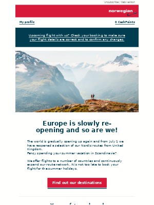 We are open for the summer! Fly direct to Scandinavia