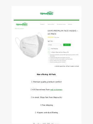Genius Pack - KN95 Masks 60 Pack - in stock