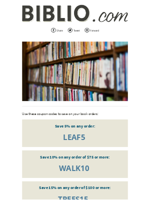 Biblio.com - Save all weekend with these coupons!