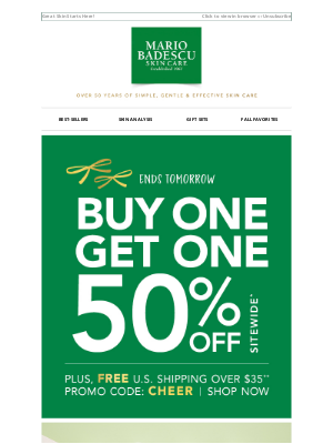 Mario Badescu Skin Care - ENDS TOMORROW | Buy One, Get One 50% Off