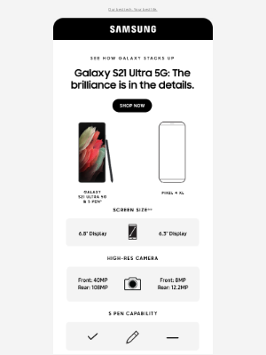 Samsung -  Pearl, compare Galaxy S21 Ultra 5G to Pixel 4 XL