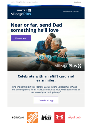 United Airlines - Shop Father's Day gifts and earn miles along the way