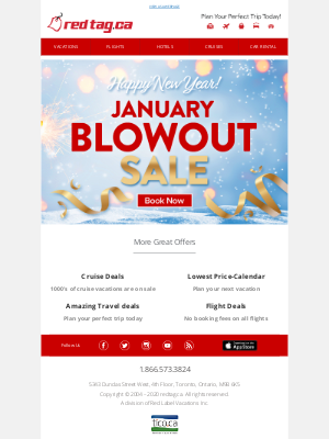 Red Tag Vacations (CA) - January Blowout Sale!