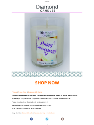 Diamond Candles - Happy Anniversary! LOVE, FRIENDSHIP, HOPE - Give a Ring Candle!