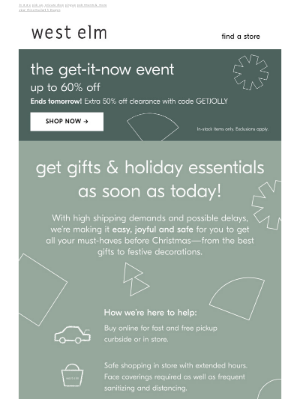 West Elm - Get alllll things holiday by Christmas at NYC - Chelsea store—fast & worry-free!