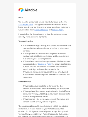 Airtable - Updates to our Terms of Service and Privacy Policy