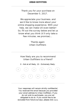 Urban Outfitters wants to hear from you!