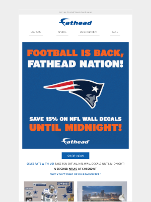 Fathead - Football is back! 15% off NFL wall decals ends tonight! 🏈