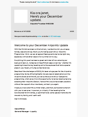Air New Zealand - janet, your December Airpoints Update