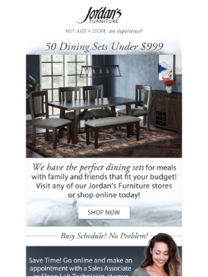 Jordan's Furniture - Shop 50 dining sets under $999!