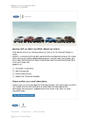 Ford Motor Company - Can we continue to send you email?