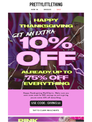 PrettyLittleThing USA - We're thankful for you. Get up to 75% off everything 🤗