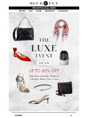 Bluefly - Luxe Event   Alexander McQueen, Valentino & more