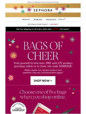 Sephora - Pick one of SIX holiday sample bags 🛍️ Inside: FREE FENTY BEAUTY, Laura Mercier, NARS, and more.